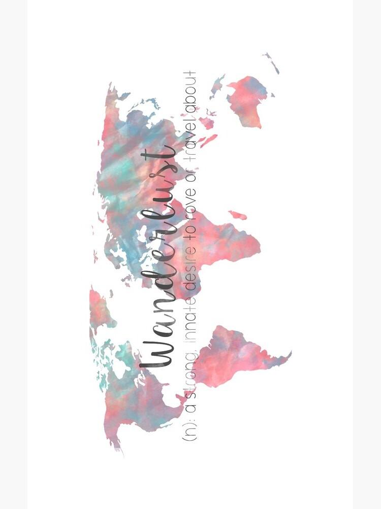 Fernweh Definition Teal und Pink Aquarell Karte von adventureliela