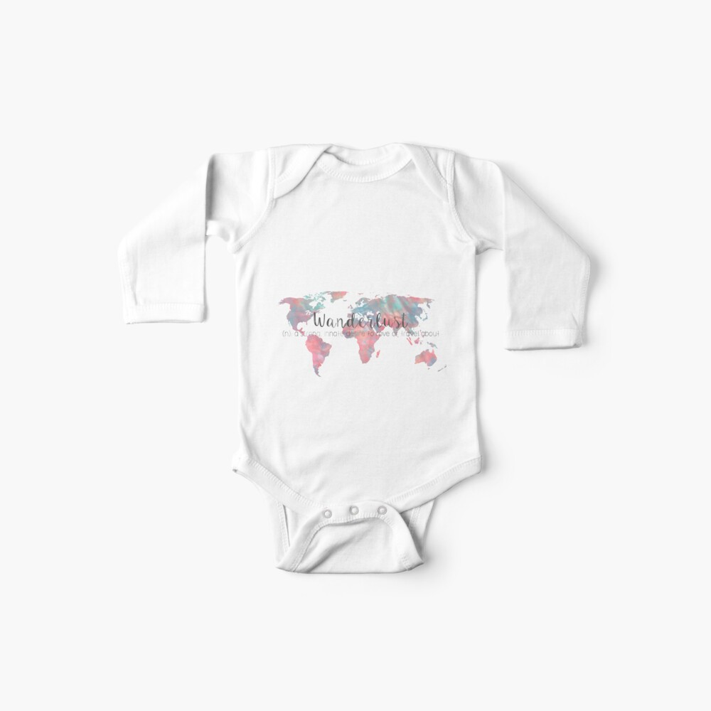 Fernweh Definition Teal und Pink Aquarell Karte Baby Body