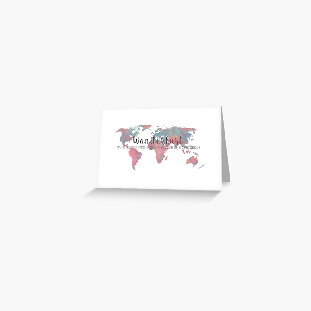 Fernweh Definition Teal und Pink Aquarell Karte Grußkarte