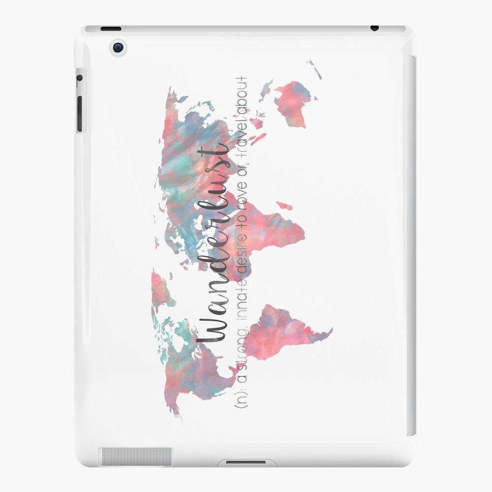 Fernweh Definition Teal und Pink Aquarell Karte iPad-Hülle & Skin