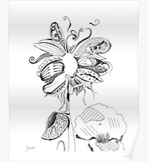 Flowerfly - White Poster