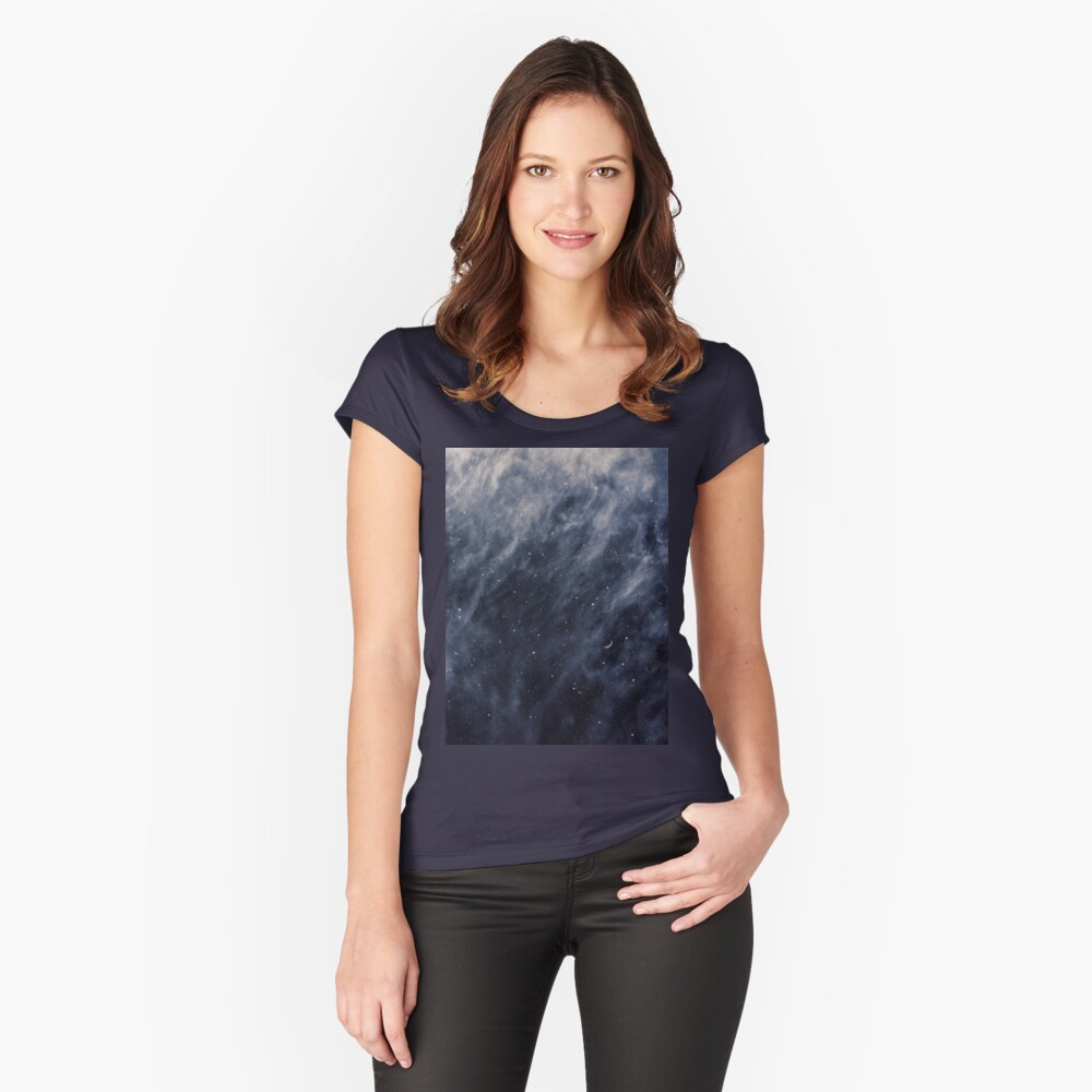 Blue Clouds, Blue Moon Fitted Scoop T-Shirt
