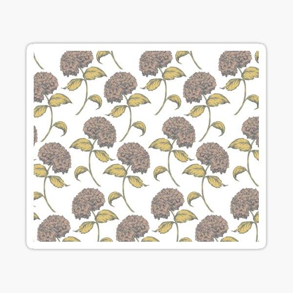 Hydrangea Vintage Floral Pattern Brown and Gold Sticker