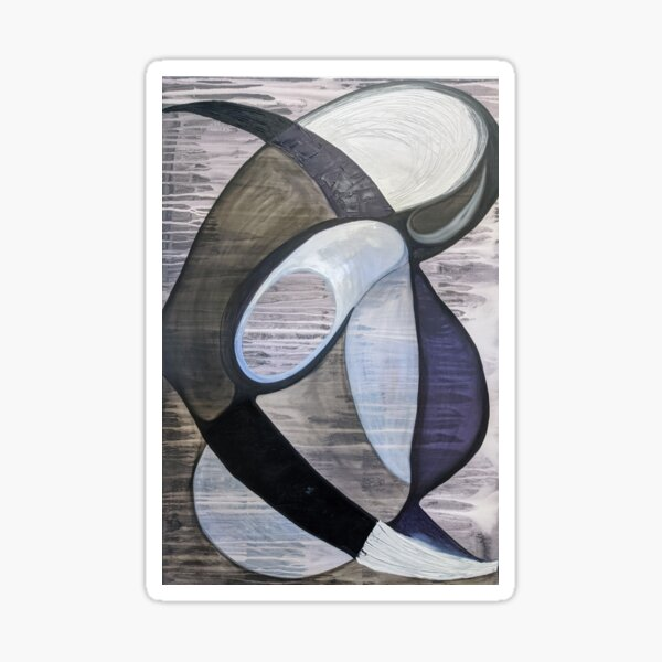 black and white abstract art painting Sticker