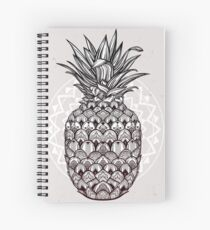 Boho ornamental pineapple fruit.  Spiral Notebook