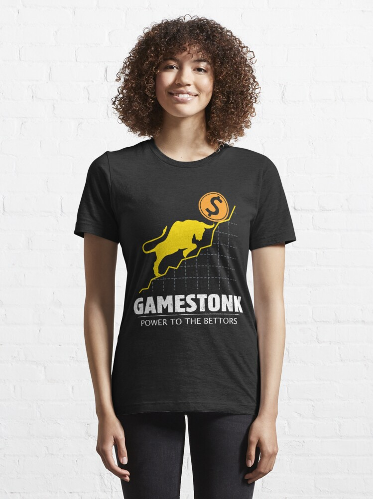 Alternate view of GameStonk Power to the Bettors - Wall Street Investor and Trader Stock Market Bets - Funny Wall Street Memes Vintage Design Essential T-Shirt