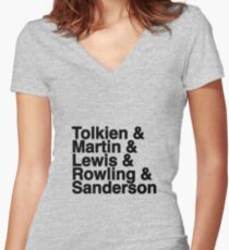 Best Fantasy Authors Women's Fitted V-Neck T-Shirt