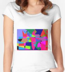 color abstract scribble background Women's Fitted Scoop T-Shirt