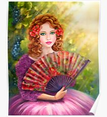 Girl beautiful with a fan against a grape garden. Poster