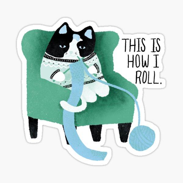 Knitting Cat - blue/green Sticker