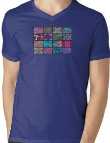 Patchwork, vintage style Mens V-Neck T-Shirt