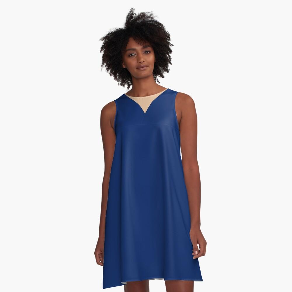 Beautiful Blue beige geometric design A-Line Dress