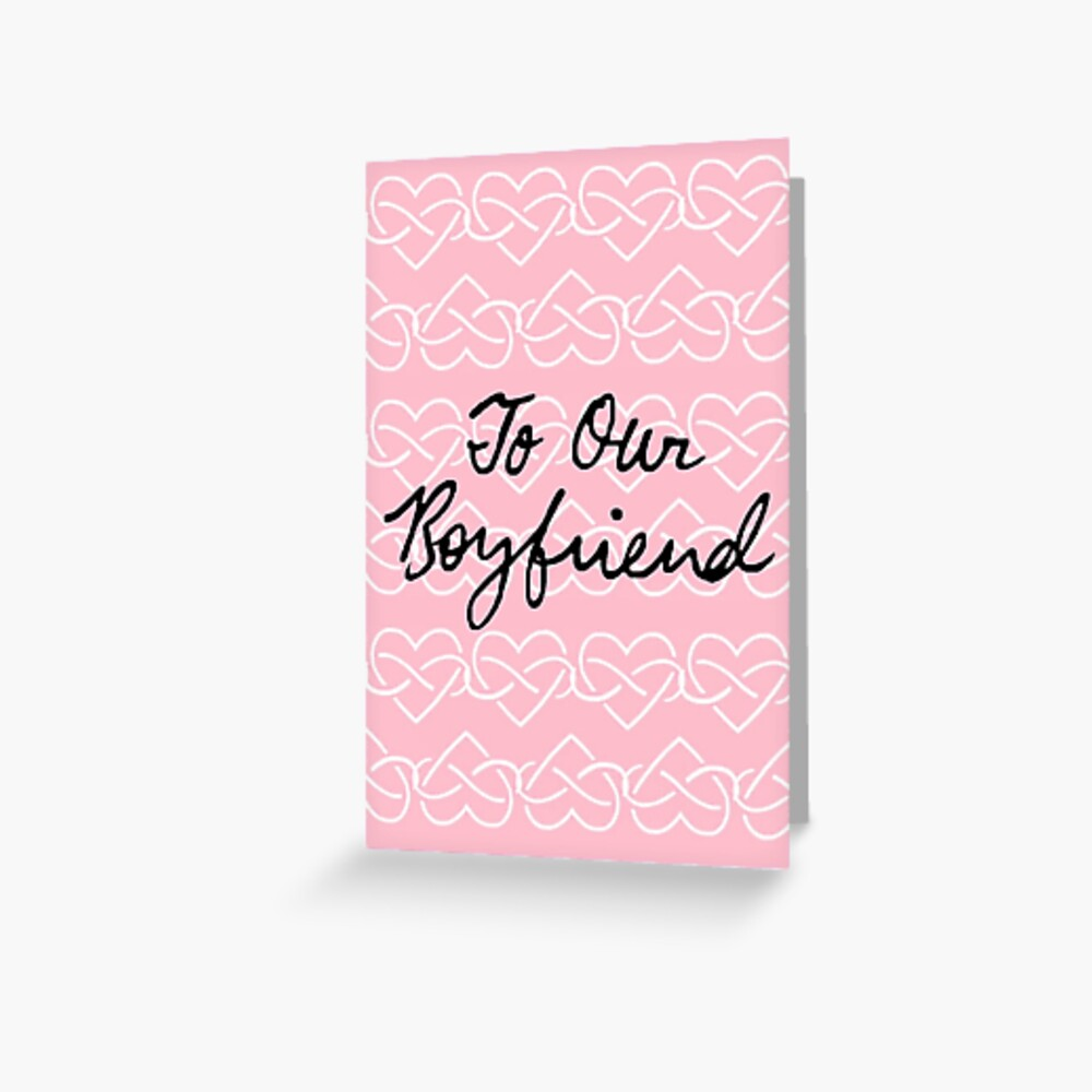 To Our Boyfriend Pink Infinity Hearts Greeting Card