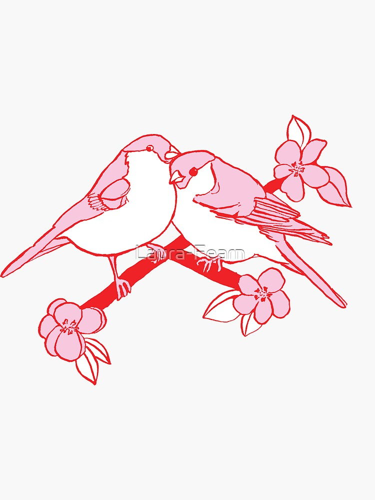 Love Birds with flowers by Laura-Fearn