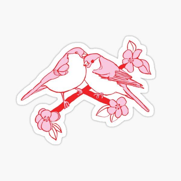 Love Birds with flowers Sticker