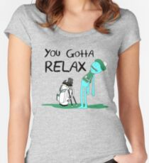 Mr. Meeseeks Quote T-shirt - You Gotta Relax - White Fitted Scoop T-Shirt