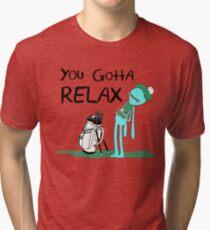 Camiseta de tejido mixto Camiseta de Mr. Meeseeks Quote - Tienes que relajarte - Blanco