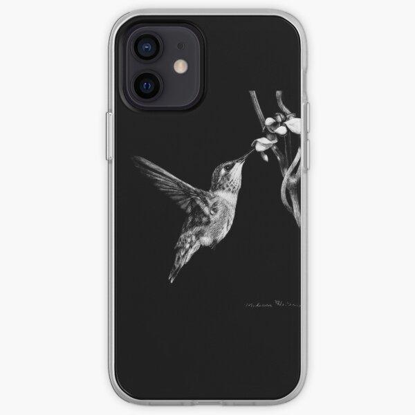 Hummingbird Black and White Artwork iPhone Soft Case