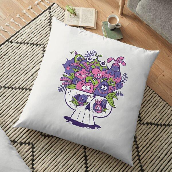 Creature Doodle Skull Floor Pillow