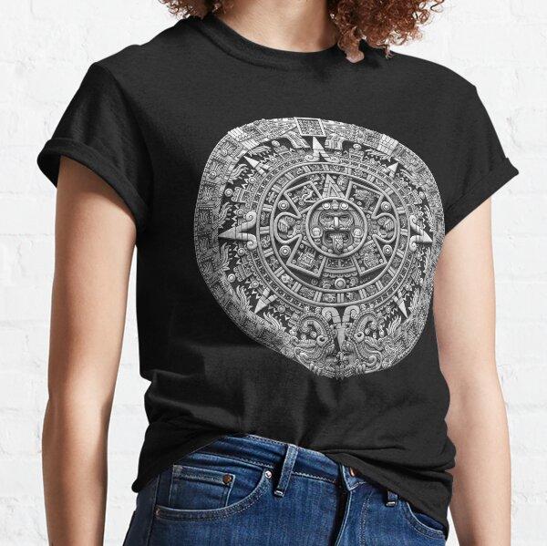 Aztec Calendar Sun Stone - Greyscale Classic T-Shirt