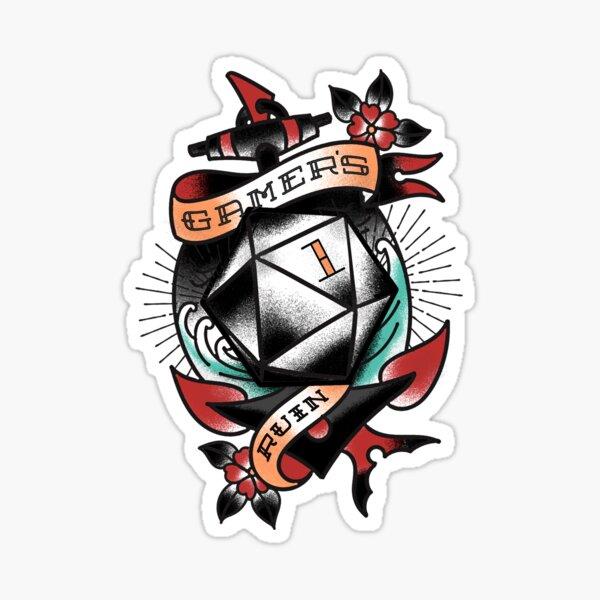 Gamer's Ruin - D20 Traditional Tattoo Sticker