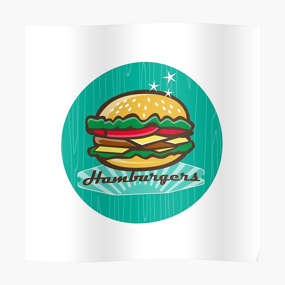 Retro 1950s Diner Hamburger Circle | Poster