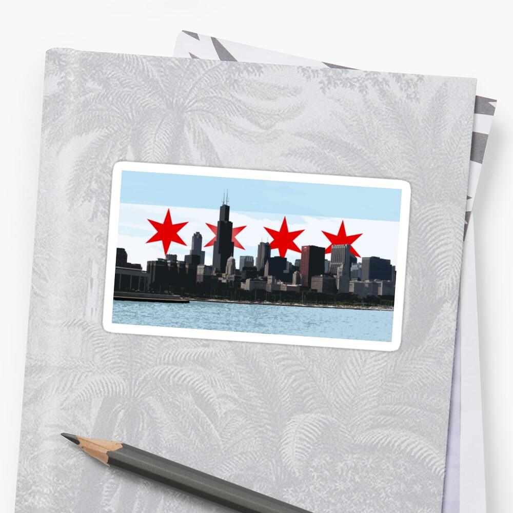 Pegatinas «Bandera de Chicago Horizonte 3D» de silverorlead | Redbubble
