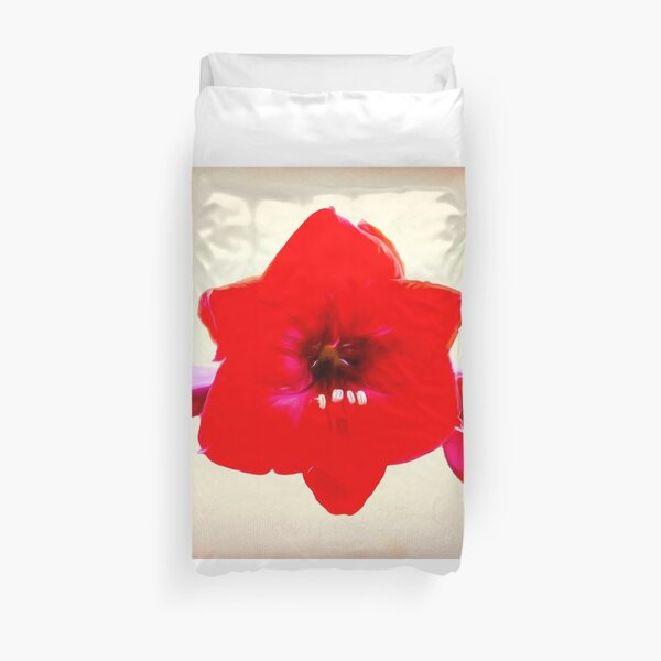 Red Amaryllis After Georgia O'Keeffe Duvet Cover