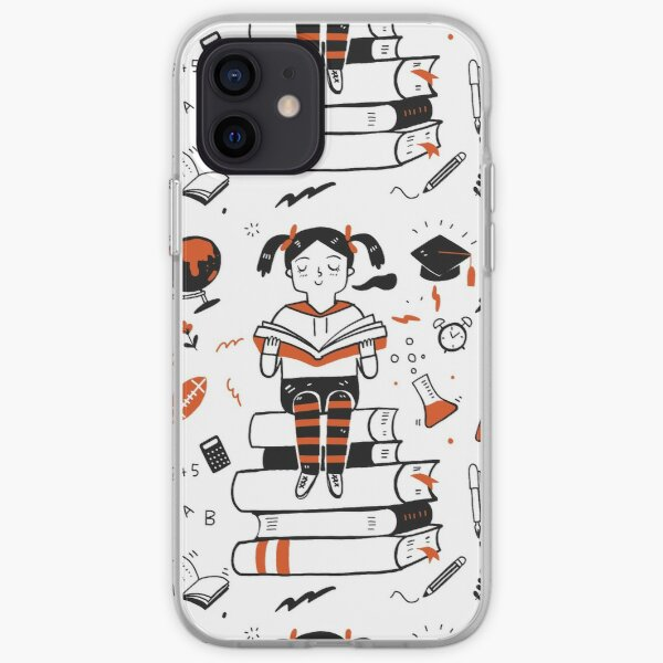 Young student girl reading a book sitting on the books iPhone Soft Case