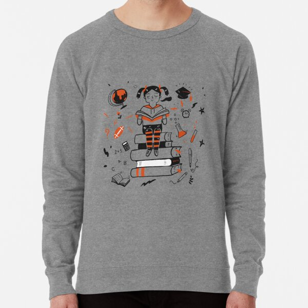Young student girl reading a book sitting on the books Lightweight Sweatshirt