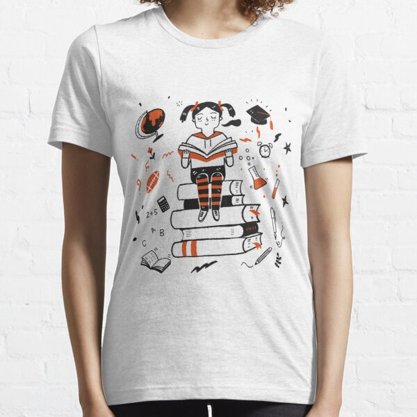 Young student girl reading a book sitting on the books Essential T-Shirt