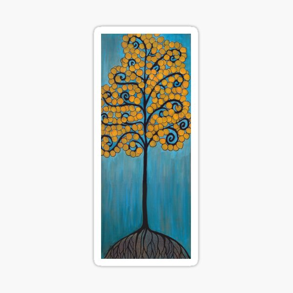 Happy Tree In Blue and Gold Sticker