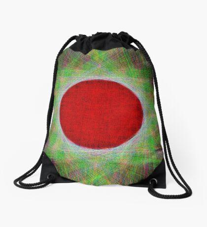 Red Button Planet Drawstring Bag