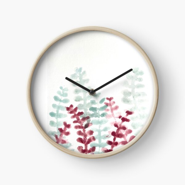 Watercolor eucalyptus Clock