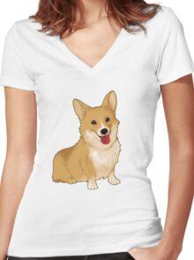 Cute smiling corgi Women's Fitted V-Neck T-Shirt