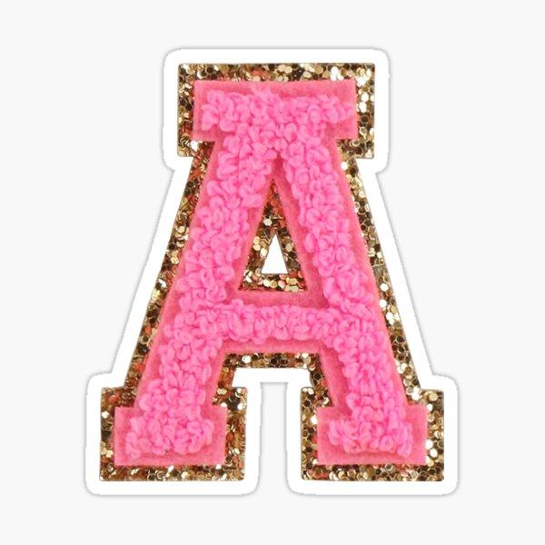 A - Bubblegum Glitter Varsity Letter Patches Sticker