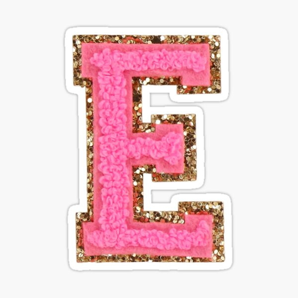 E - Bubblegum Glitter Varsity Letter Patches Sticker