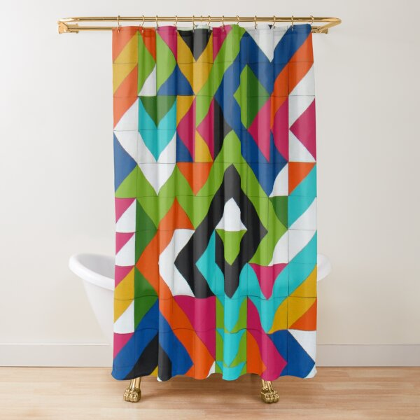 Wild Geese Pattern Wood Quilt - Multicolored Shower Curtain
