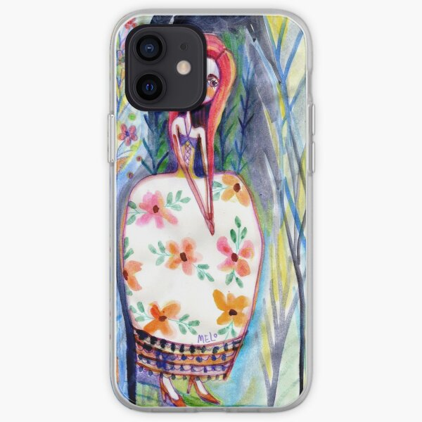 Woman in the Woods, Meloearth Art, Painting Redhead, Floral Fashion Dress, Orange Long Hair Girl Cute, Fairy, Floral iPhone Soft Case