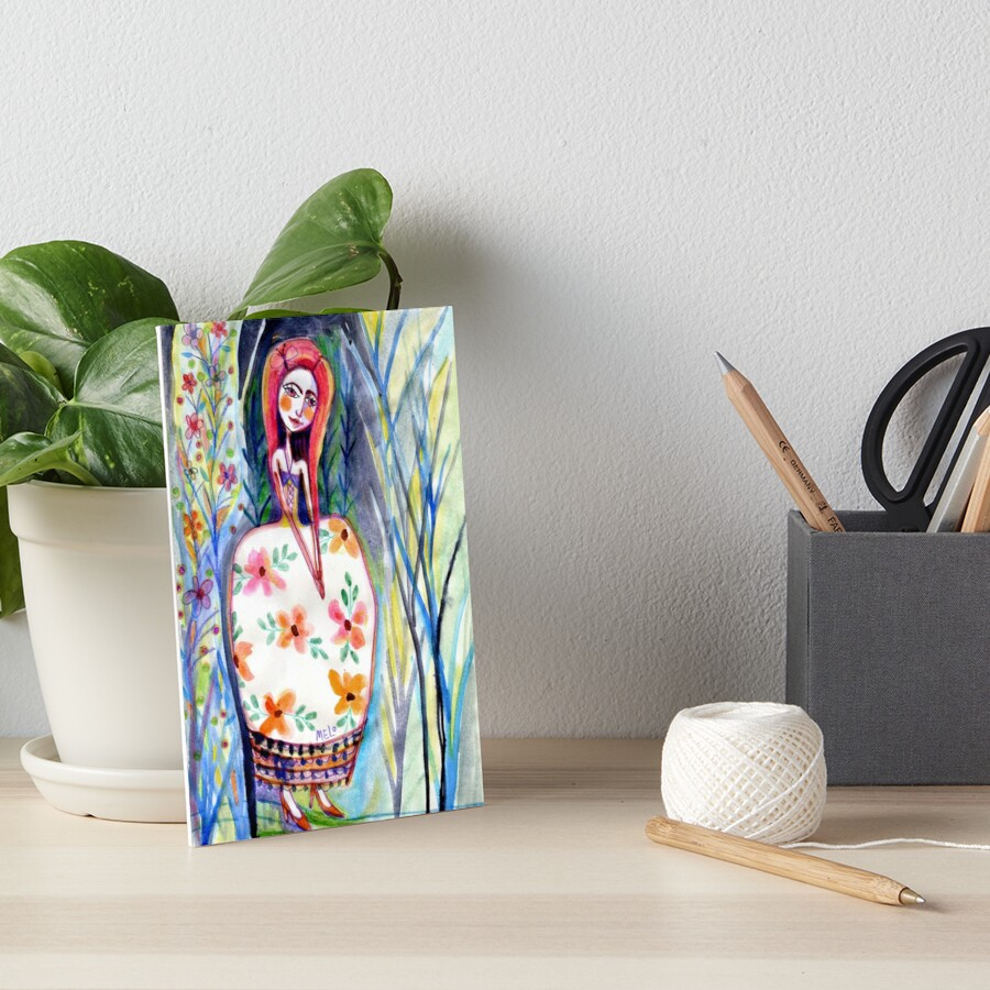 Woman in the Woods, Meloearth Art, Painting Redhead, Floral Fashion Dress, Orange Long Hair Girl Cute, Fairy, Floral Art Board Print