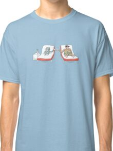 Monkey and Tuxedo Cat by the Pool Classic T-Shirt