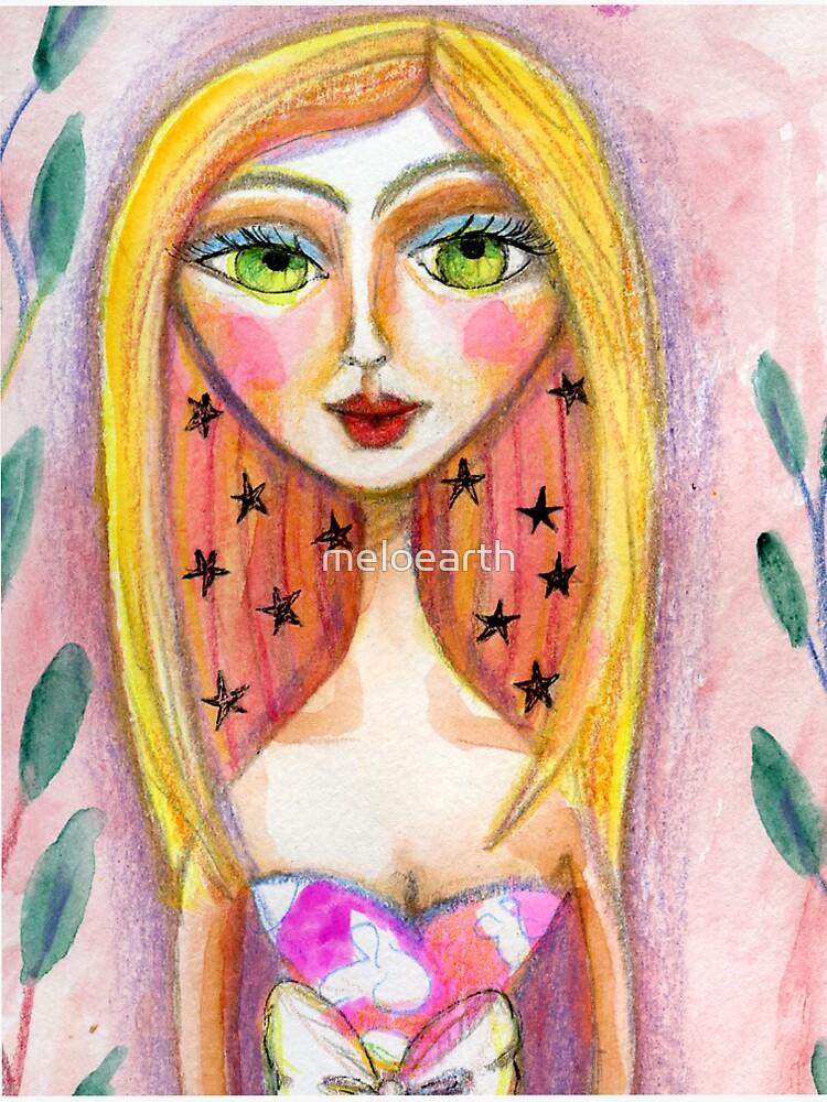 Pink Star Blonde Girl, Meloearth Art, Portrait Pretty Woman, Green Eyes  by meloearth