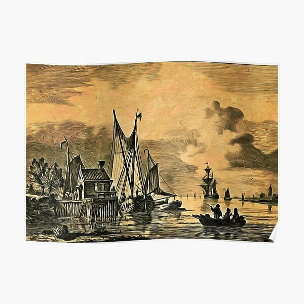 Dutch, Sailing Ships and a House on a Pier Poster