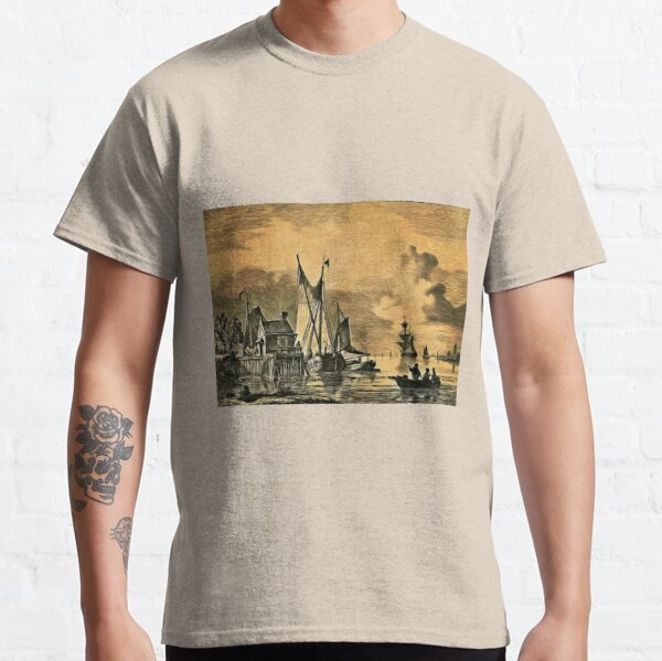 Dutch, Sailing Ships and a House on a Pier Classic T-Shirt