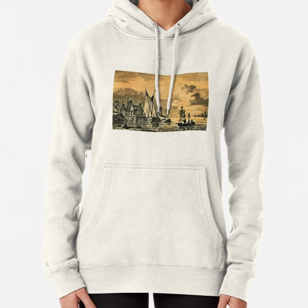 Dutch, Sailing Ships and a House on a Pier Pullover Hoodie