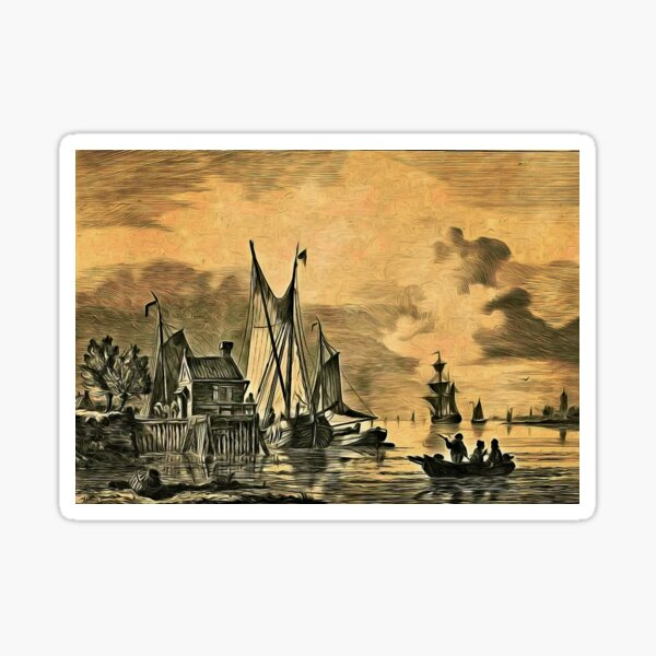 Dutch, Sailing Ships and a House on a Pier Sticker