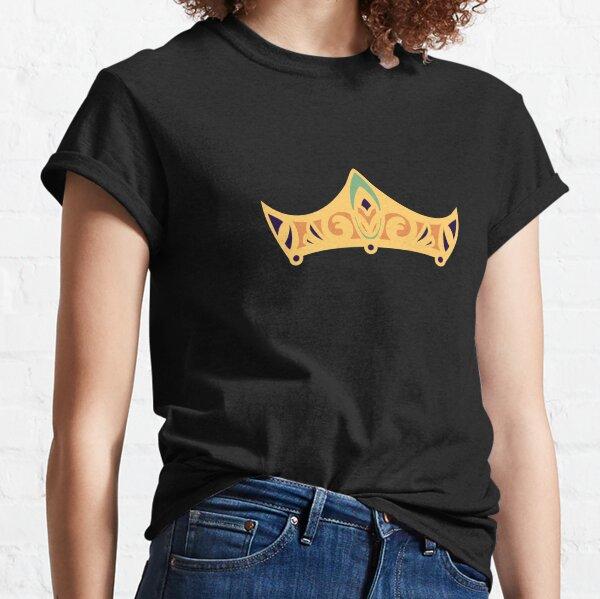 Design of a royal tiara fleur de lys Art Nouveau style golden dark blue Classic T-Shirt