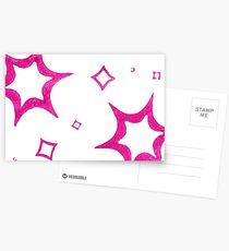 Hand Printed Star-burst Pattern Postcards