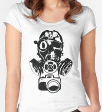 Urban Exploration Gas Mask Photography Women's Fitted Scoop T-Shirt