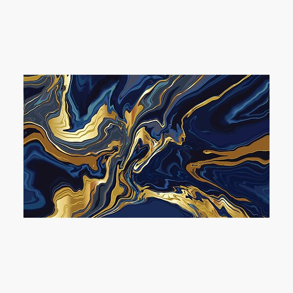 0/494 Blue Marble Gold Powder Photographic Print